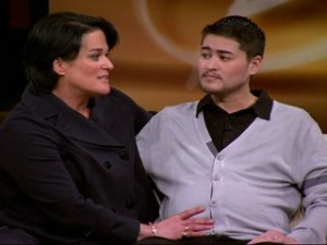 Thomas Beatie and his wife on Oprah. Photo from ABC News.
