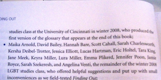 A picture of my name in the acknowledgements.