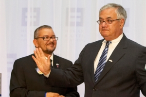 Diego Miguel Sanchez (in the background) and U.S. Rep. Barney Frank. Photo from 365gay.com.