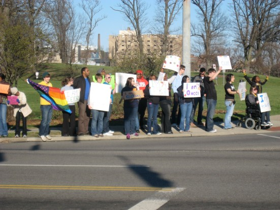 Photo: University of Cincinnati community members protest an anti-gay hate crime that happened on campus.