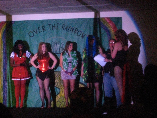 An amateur drag performer is crowned the winner of half of the funds raised at the charity drag show
