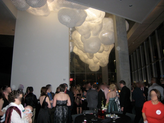 The Contemporary Arts Center is all decked out for GLSEN Prom. The hanging installation piece is by Tara Donovan.