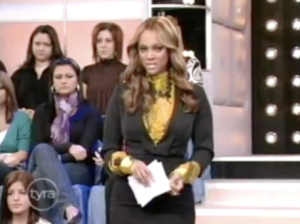 "Tyra Banks moderates the discussion of ""The Gay Kingdom."" Photo is a screen cap from The Tyra Show."