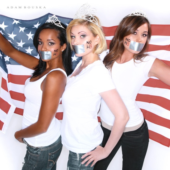 Former Miss California Tamiko Nash, former Miss USA Shanna Moakler and former Miss California Raquel Beezley. Photo from NoH8Campaign.com.