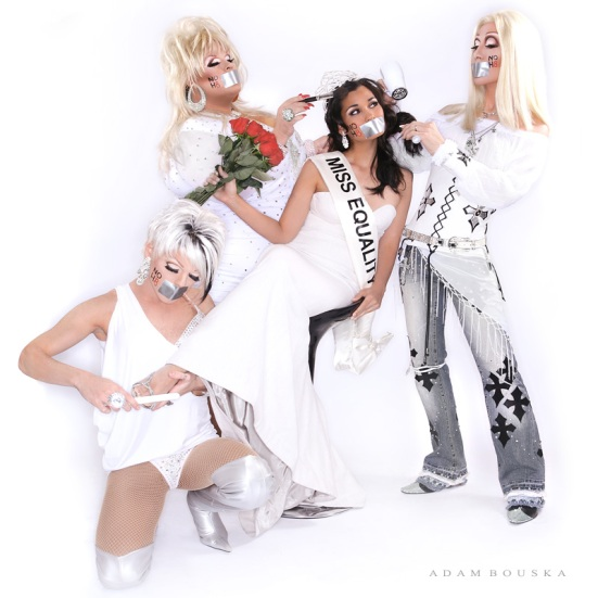 Miss Hawaii, Miss USA and Miss Universe 1997 Brook Lee poses with DreamGirlz Chad Michaels as Cher, Delta Work as Dolly Parton and Morgan as Pink. Photo from NoH8Campaign.com.