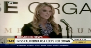 Miss California Carrie Prejean speaks at a press conference today after Donald Trump decided to let her keep her crown.