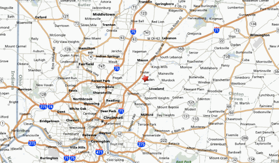 Map of Greater Cincinnati. The star is Tabby's American Bar and Grille, where the attack took place. Map from MapQuest.com.