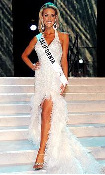 Miss California Carrie Prejean pictured during wholesomer times as a Miss USA contestant. Photo from Google Images (SodaHead.com).
