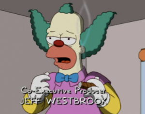 Krusty from The Simpsons. Screen cap from FOX.com.