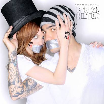 Ashlee Simpson-Wentz and Pete Wentz pose for the NoH8Campaign. Photo from PerezHilton.com.
