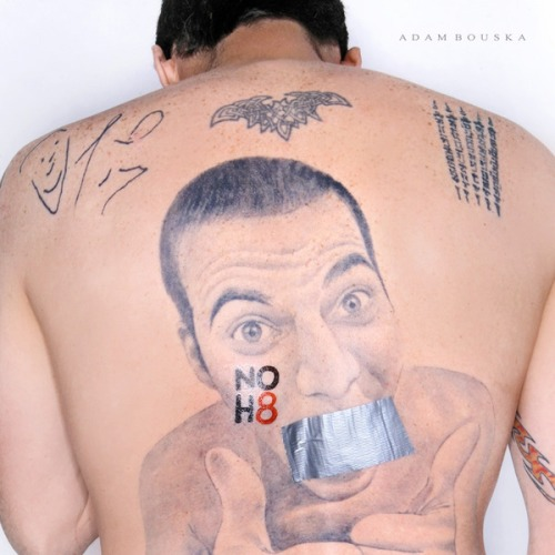 Steve-O's tattoo self-portrait also participated in the NoH8Campaign.