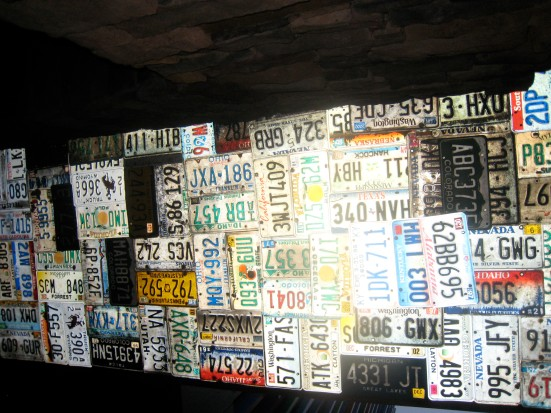 Parts of the ceiling at Cadillac Ranch were decorated with old license plates.