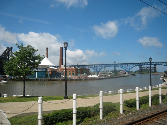 The view from the Rapid train approaching Voiovich park, where Cleveland Pride was held.