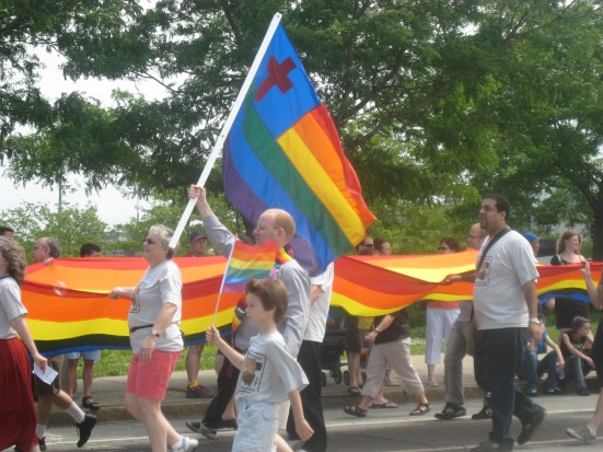 Religious groups participated in the march, decked out in rainbows.