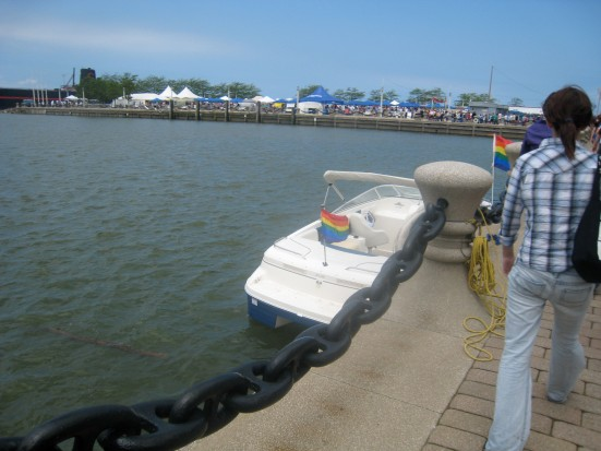 The Cleveland Pride festival is huge, with two stages and several rows of booths.