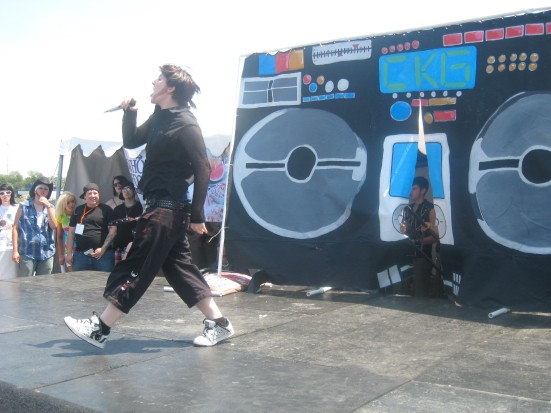 A drag king performs during the Cleveland Kings and Girls set at Pride.