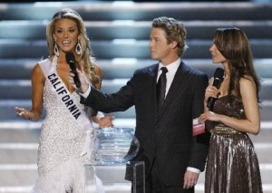 Carrie Prejean answers the infamous gay marriage question during the Miss USA contest. Photo from Google Images.