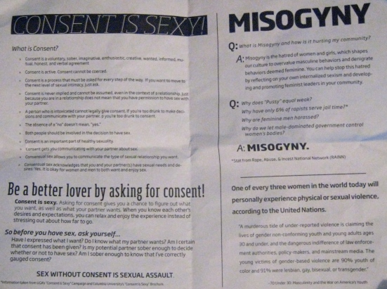 The reverse side of CGQB's fliers contained information on misogyny, consent and sexual assault.
