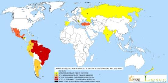 Map of transgender murders worldwide.