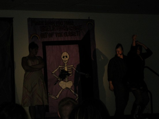 "The theme for the night was ""Make room for your skeletons, come out of the closet."""