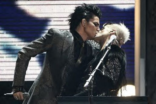 Adam Lambert performs at the American Music Awards.