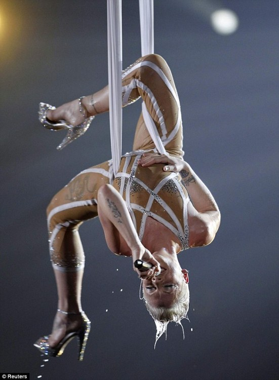 Pink performs at the Grammy Awards.