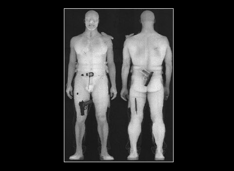 Photo: Screen capture of the TSA body scans, which is a nearly nude person with weapons concealed on their clothing. Photo source: Google Images
