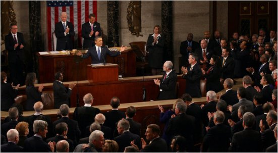 President Barack Obama delivering the State of the Union address.   New York Times