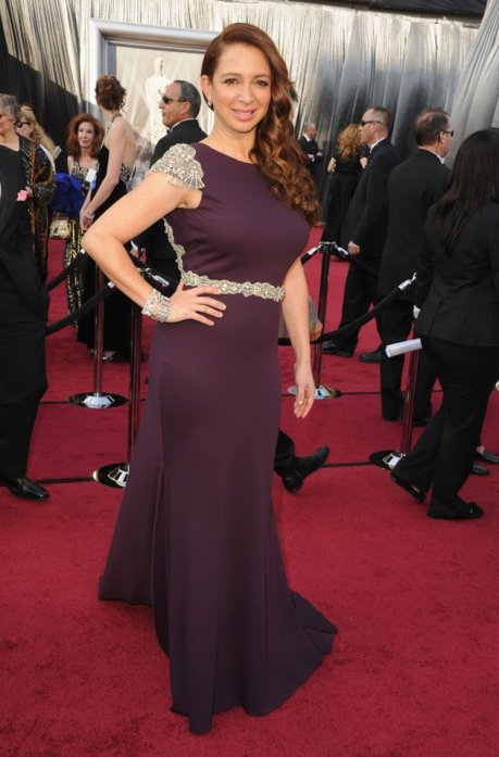 Photo: Maya Rudolph wearing a plum Johanna Johnson dress with bejeweled cap sleeves and belt on the Oscars red carpet. Image source:  Gregg DeGuire/WireImage, Google Images