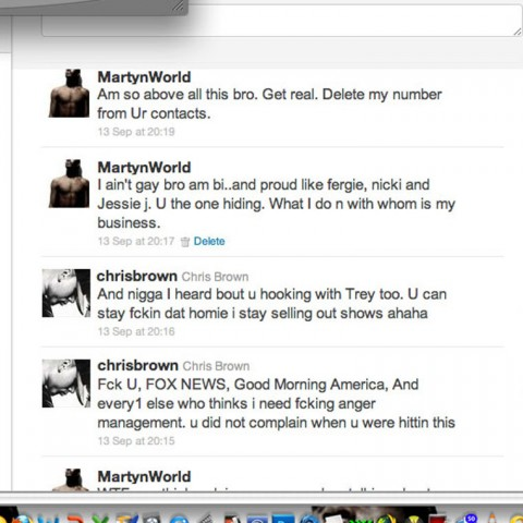 Screen cap of Chris Brown exchanging Twitter messages with Martyn alluding to having gay sex together. Photo source Google Images