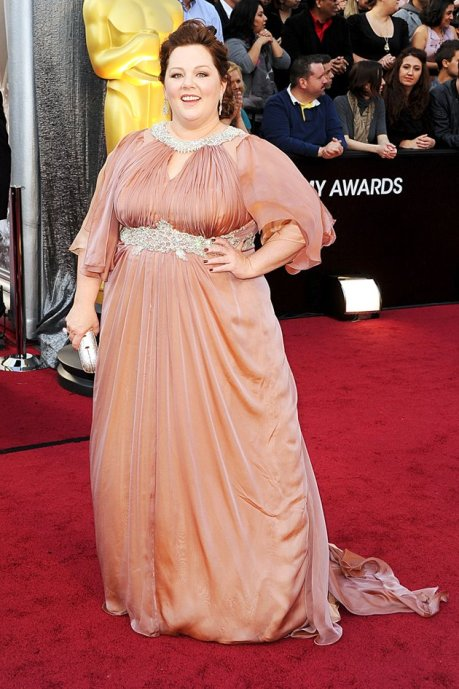 Photo: Melissa McCarthy in an amber gown with clear rhinestone neckline and belt by Marina Rinaldi. Image Source: Gregg DeGuire/WireImage, Google Images