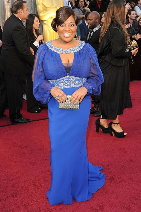 "Photo: ""The View"" co-host Sherri Shepherd wearing a blue bejeweled gown. Image source: Gregg DeGuire/WireImage, Google Images"