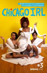 Photo: Cover of Chicago IRL issue 3, featuring three people of color dressed in toga-style sheets. Photo source: Google Images