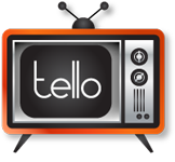 "Photo: tello Films logo. Orange TV with rabbit ears with ""tello"" written on the screen. Photo source: Google Images, tellofilms.com"