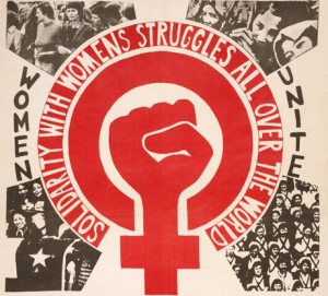 "Photo: A red women's symbol with a radical fist in the middle. Surrounding text reads: ""Solidarity with women's struggled all over the world."" It has photos of diverse groups of women surrounding it. Photo Source: Google Images"