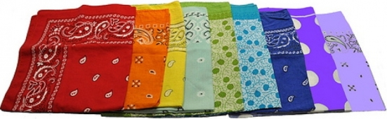 Photo: Bandanas folded up and laid out in rainbow order for the hanky code or flagging. Photo source: Google Images