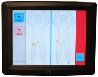 Photo: A screen capture of the TSA's body image software, with a  generic body outline, front and back. Photo source: Google Images