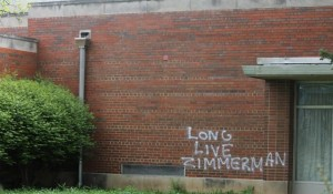 "Photo: The words ""Long live Zimmerman,"" the shooter of Trayvon Martin, are spraypainted across on OSU's Hale Center. Photo source: Google Images"