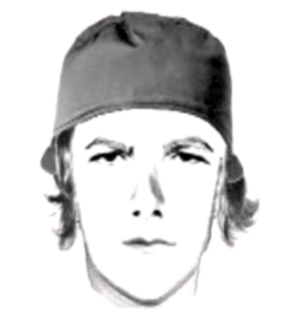 Photo: A police sketch of one of the Miami University hate crime suspects. He is a young, white man with chin-length hair and a hat. Photo source: WLWT, Google Images