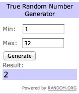 Photo: Screen shot of random number generator. Google Images.
