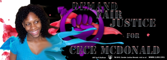 """Photo: A banner that reads """"Demand fair justice for CeCe McDonald."""" Photo source: SupportCeCe.com, Google Images."""