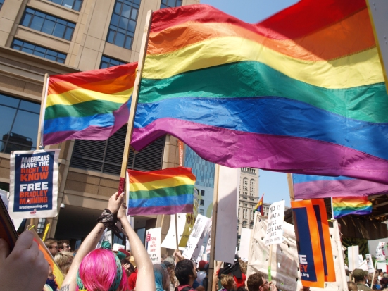 Photo: Queer contingent protestors carry rainbow flags during the protest against the NATO Summit.