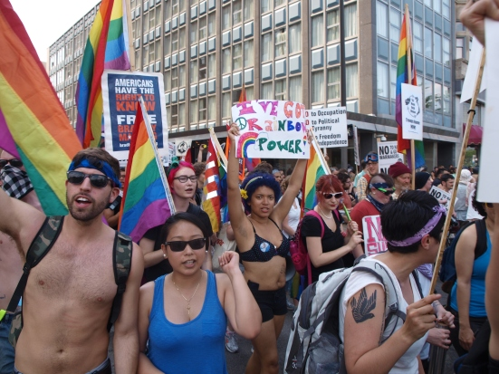 Photo: A sea of queer contingent protestors at the NATO Summit march.