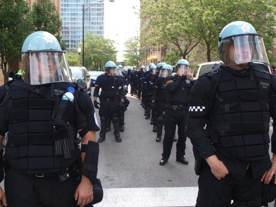 Photo: Police lined up in full riot gear at the Chicago NATO Summit protest.