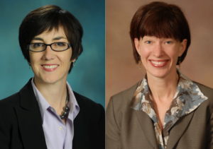 Photo: Head shots of Illinois State Rep. Kelly Cassidy and Illinois State Sen. Heather Steans, but white women wearing suits with short dark hair. Photo source: Illinois General Assembly, Google Images