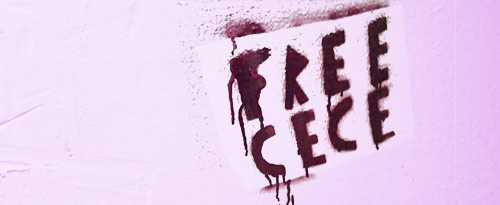 Photo: Free CeCe is spray painted on a pink background. Photo source: Tumblr, Google Images