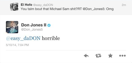 Photo: Miami Dolphins Don Jones Tweet about Michael Sam being gay in the NFL. Image source: Google Images, CBS Sports