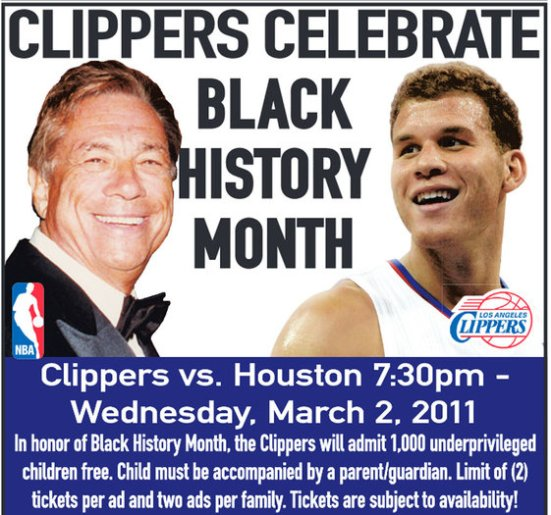 Photo: Donald Sterling Black History Month Ad Photo Source: Google Images, Ballislife.com, LA Times