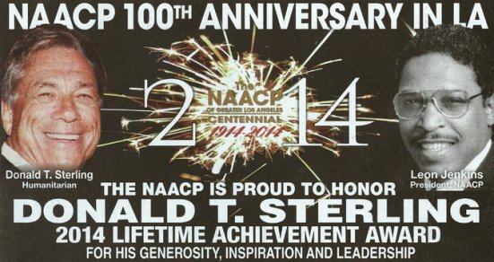 Photo: NAACP Donald sterling award ad. Photo source: Google Images, The New York Times