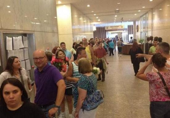 Photo: Indiana approves gay marriage. Line at Marion County clerk's office is out the door. Photo source: Google Images, WTHR